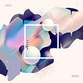 Liquid colors, poster design. Abstract geometric composition.
