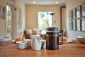 Still life shot of a coffee plunger and