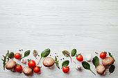Frame made of of fresh vegetables on white