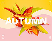 """Word """"Autumn"""" with 3D leaves."""