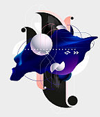 Fluid poster design with geometric elements