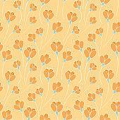 Blooming orange floral seamless pattern