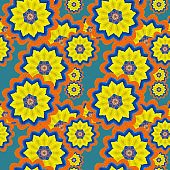 Seamless pattern for continuous replicate. Floral background, photo collage for production of textile, cotton fabric. For use in wallpaper, covers. Mandala drawing in oriental style