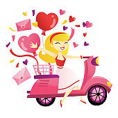 Cartoon Blonde Girl Riding Scooter Delivering Gifts