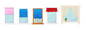 Set of Windows with Roman Curtains and Roller Blinds. Interior Design Elements. Plastic or Wooden Frames with Drapery