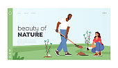 Beauty of Nature Reforestation and Trees Planting Landing Page Template. Volunteer Characters Planting Plants Seedlings