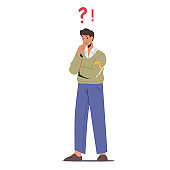 Thoughtful Serious Business Man Stand with Question Mark above Head Thinking. Male Character Searching Solution