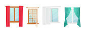 Set Windows with Curtains and Jalousie Shutters, Interior Design Elements. Plastic or Wooden Frames with Fabric Drapery