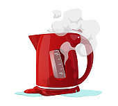 Broken Electric Kettle Isolated on White Background. Destroyed Appliance with Steam, Poured Water and Melted Plastic