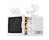 Broken Microwave Oven with Steam and Fire Isolated on White Background. Damaged Kitchen Appliances, Electrical Technics