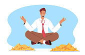 Rich Male Character Meditate Floating above Pile of Golden Coins. Wealth and Prosperity Concept. Successful Millionaire