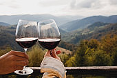 Man and woman clinking with glasses of red wine with a scenic mountain view.