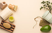 Zero waste and eco-friendly lifestyle banner. Bathroom and kitchen accessories, top view, copy space