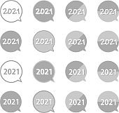 A set of silver, round speech balloon shaped 2021 icons.