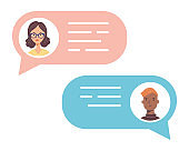 Talking people chat bubbles with avatars