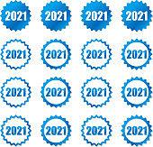 Blue gear 2021 icon set