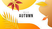 Banner Autumn background with copy space for text , for content online or web, banner and template, Simple cartoon flat style. illustration Vector EPS 10
