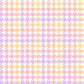Houndstooth check pattern in pastel purple, orange, pink, yellow, white. Seamless decorative background graphic vector for dress, jacket, coat, other trendy everyday spring autumn fabric design.