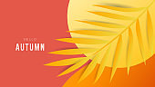 Autumn  background for content online or web, banner and template, Simple cartoon flat style. illustration Vector EPS 10