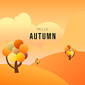 View of hills and trees in autumn for content online or web, banner and template, Simple cartoon flat style. illustration Vector EPS 10