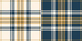 Tartan plaid pattern set in blue, gold, off white. Seamless striped check graphic background vector texture for autumn winter flannel shirt, duvet cover, scarf, other everyday fashion textile print.
