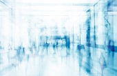 Abstract blurred interior of corridor clinic background in blue color , blurry image