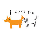 Illustration of dogs showing love