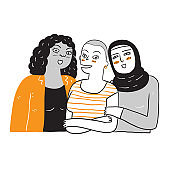 A group of women who are diverse in ethnicity and skin color
