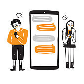 Conversation on an online forum and internet chatting concept.