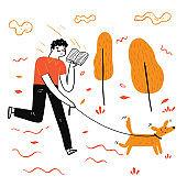 The man walking dog reading a favorite book