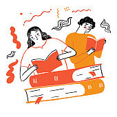 Couple reading a favorite book