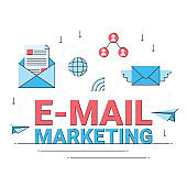 email marketing business online, internet commercial promotion advertising flat design