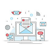 digital email marketing concept, business contact promotion