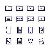 business social communication outline icon set
