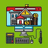 online business digital money concept, internet banking commerce