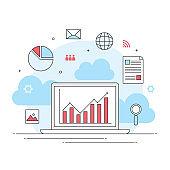 digital marketing online business commerce, fund management profit growth