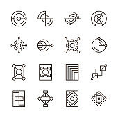 abstract geometric shape outline icons set
