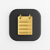 Golden calendar straight line icon. 3d rendering of black square key button, interface ui ux element.