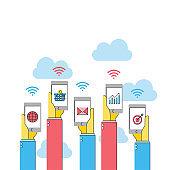 internet social netwprk concept, hand holding smartphone business online