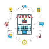 business internet marketing, laptop online shopping store