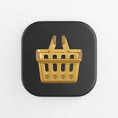Supermarket golden shopping basket icon. 3d rendering of black square key button, interface ui ux element.