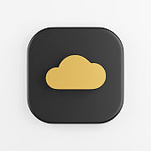 Gold flat cloud icon. 3d rendering of black square key button, interface ui ux element.