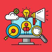 business target successful, seo optimization concept