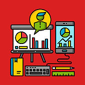 business project management concept commercial graph presentation