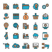 Business Management, Economy Financial Flat Lined Icon Set