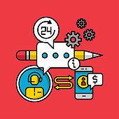 customer support service concept, business internet marketing