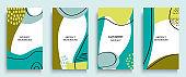 Social media stories and post creative art concept for web design. Advertising brochure, geometric doodle minimal pattern background. Message promotion template vector illustration set. Trendy pastel