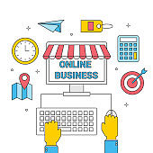 internet business from computer, shopping online store commercial