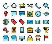 Business office marketing and communication flat line icons.Company service symbol design concept