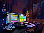 Audio workplace,recording studio,computer music studio.3d rendering
